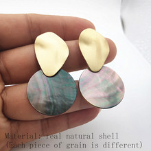 Minimalist Black Natural Shell Pendant Earrings Round Large Gold Geometric for Women Wedding Jewelry