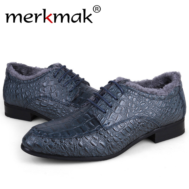Merkmak Genuine Leather Men Shoes 2016 Fashion Oxfords Loafer Pointe Top Designer Formal Men Shoes Dress Shoes For Plus Big Size