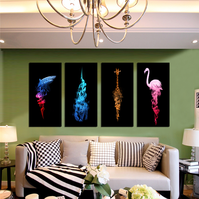 Cuadros Decoration 2016 Time Limited HD Wall Canvas Ostrich Tiger Shark Giraffein Colorful Smoke Home Decor Oil Painting On Art