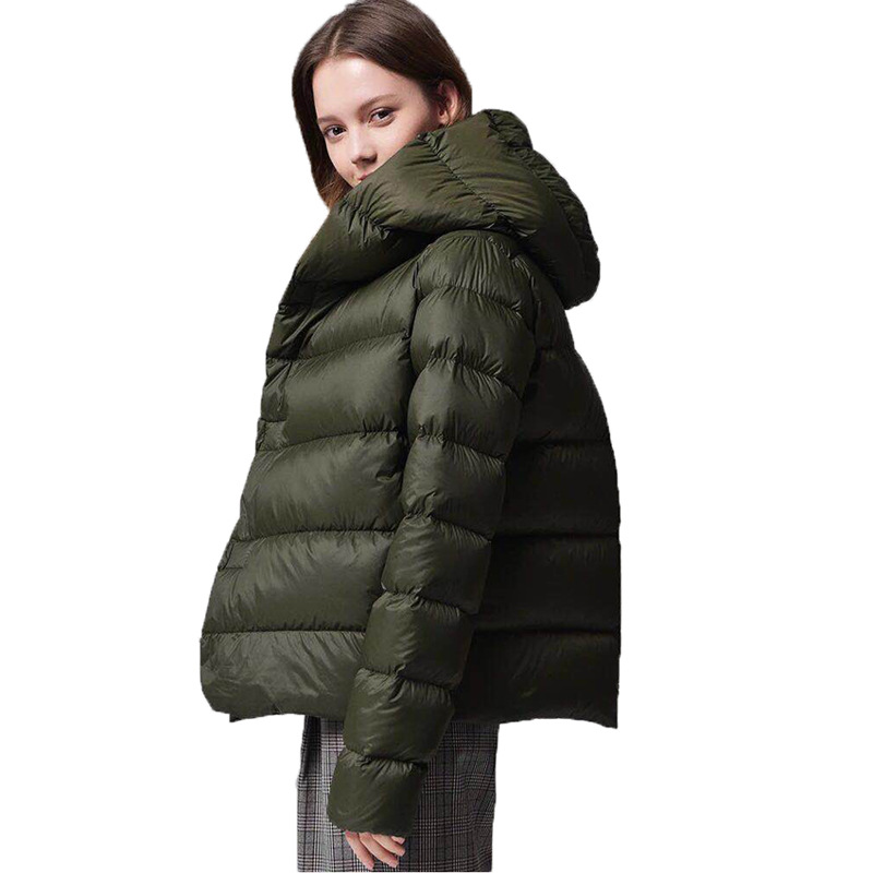 Winter fashion brand single breasted with hooded duck   down     coat   female elegant stitching short warm   down   parkas wq693 dropship