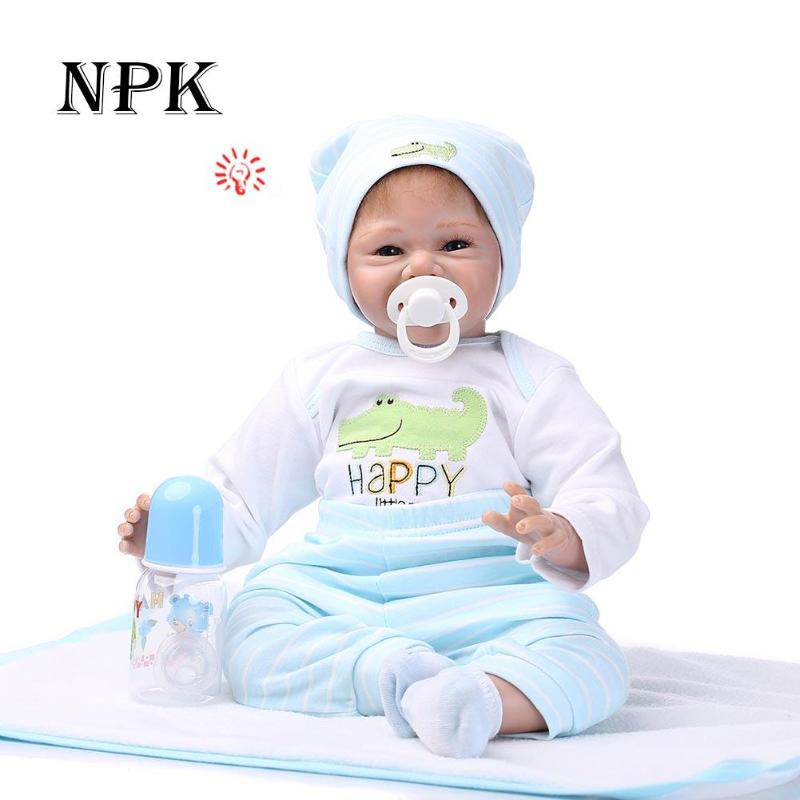 NPK 55cm Soft Silicone Reborn Baby Doll Toy for Girls Newborn Baby Gift Children Kids Playmate Adorable Lifelike Toddler Bonecas 16in silicone newborn baby doll simulation reborn dolls kids lifelike pretend play toy for children kids girls birthday gift