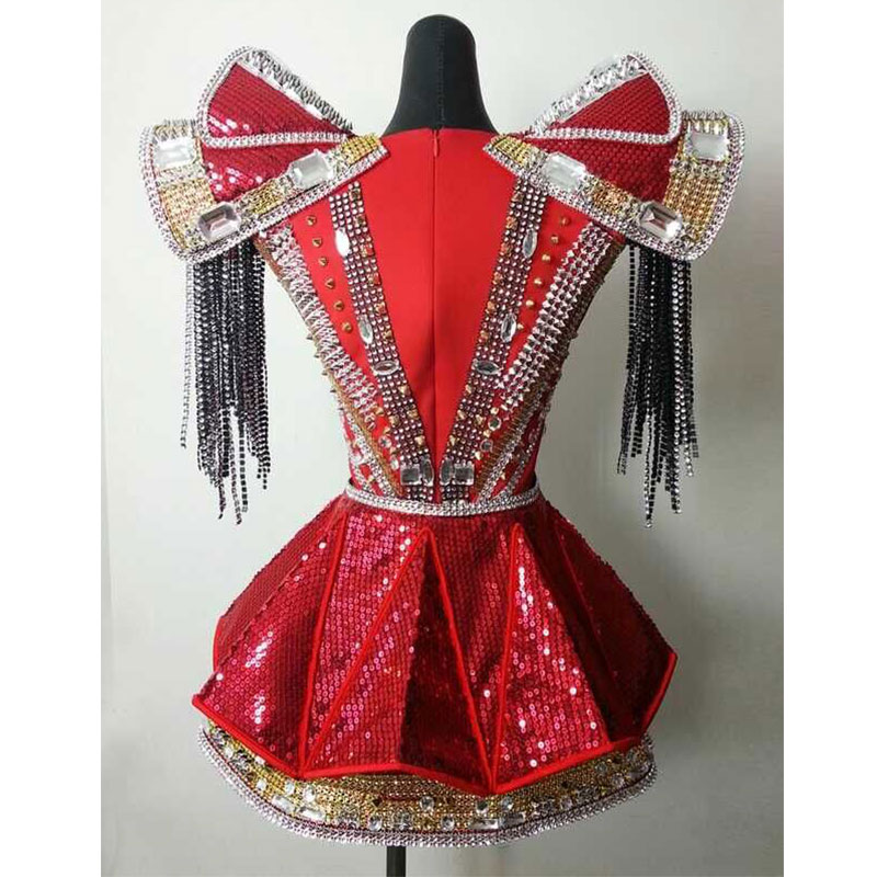 black red Bodysuit Jazz Dance Costumes Bar Dj Dancers Sexy Nightclub DS Singer Rave Clothes Rhinestone rivet Jumpsuit Stage Wear in Chinese Folk Dance from Novelty Special Use