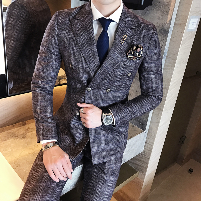 Strick Plaid 2018 Vintage Plaid Suits Grey Vintage Double Breasted