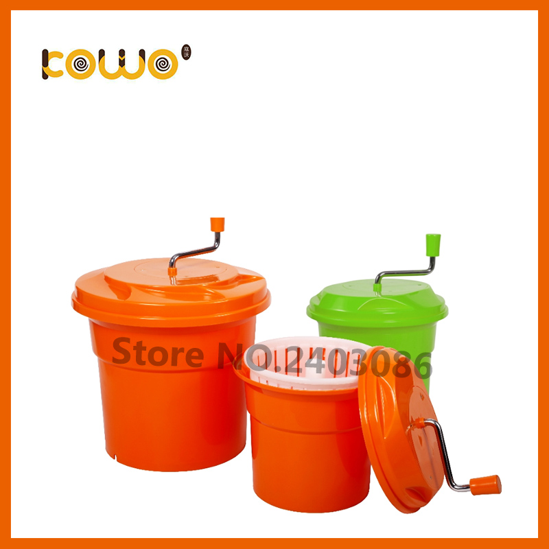 High quality manual press orange colour 12 liter food machine Plastic PP fruit Vegetable Salad Spinner and dryer for sale