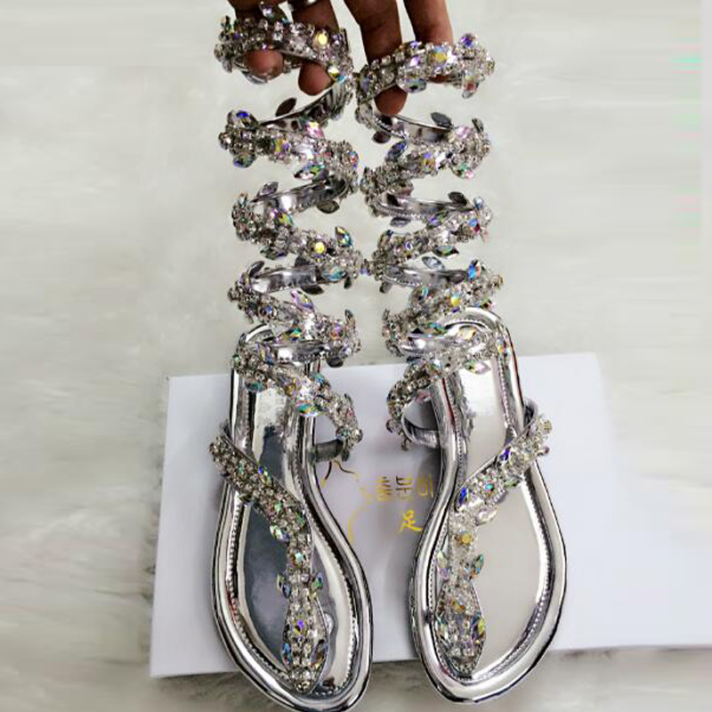 Women Summer Shoes Fashion Flip Flops Flat Crystal Sandals Snake Strap Open Clip Toe Women Gladiator Sandals Sexy Ladies Shoes new 2018 women open toe flip flops fashion ankle strap gladiator sandals women big size 34 43 ladies casual flat rome sandals