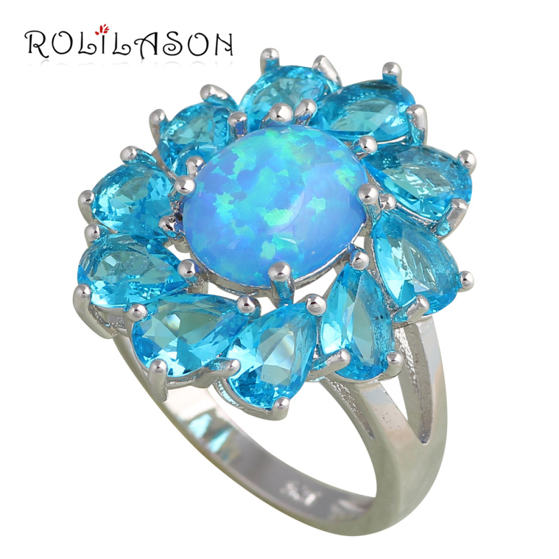 ROLILASON style Blue zircon Noble Blue fire Opal Fashion jewelry for women stamped Silver Crystal Rings USA size #6#7#8#9 OR669