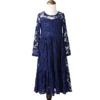 2-12Yrs Weiß Creme Blau Infant Mädchen Kinder Floral Prinzessin Hochzeit Prom Party Kleid Großen Bogen Langärmelige Tüll Tutu kleider