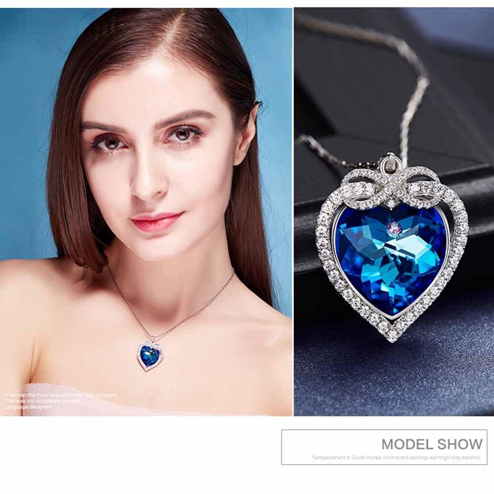 925 Silver Austrian Crystal Blu ray Jewelry Ocean Heart Pendant #YP1009