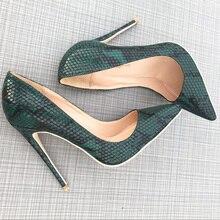 2019 Fashion free shipping green python snake Leather Poined Toe Stiletto Heel high heel shoe pump HIGH-HEELED SHOES dress