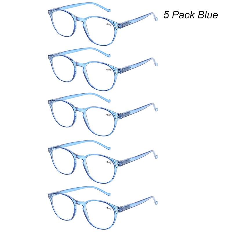Henotin, moda, coloridas gafas para lectura, 5 paquetes, resorte, bisagra, marco transparente, gafas para hombres y mujeres, 0,5 1,5 2,0 2,5