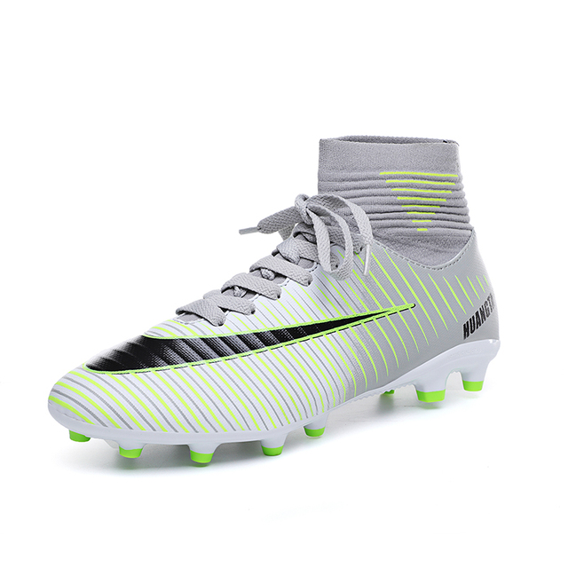 Soccer Shoes Men Football Boots Men Soccer Cleats Boots Long Spikes TF Spikes Ankle High Top Sneakers Soft Indoor Turf Futsal