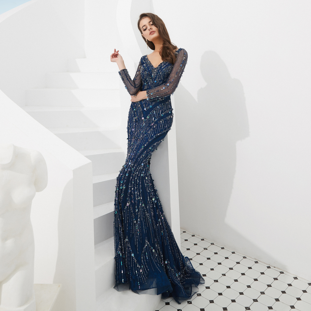 Robe De Soiree Navy Blue Dubai New Luxury Sexy Long Sleeve Evening Dresses Mermaid Diamond Beading Mermaid Evening Gowns in Prom Dresses from Weddings Events