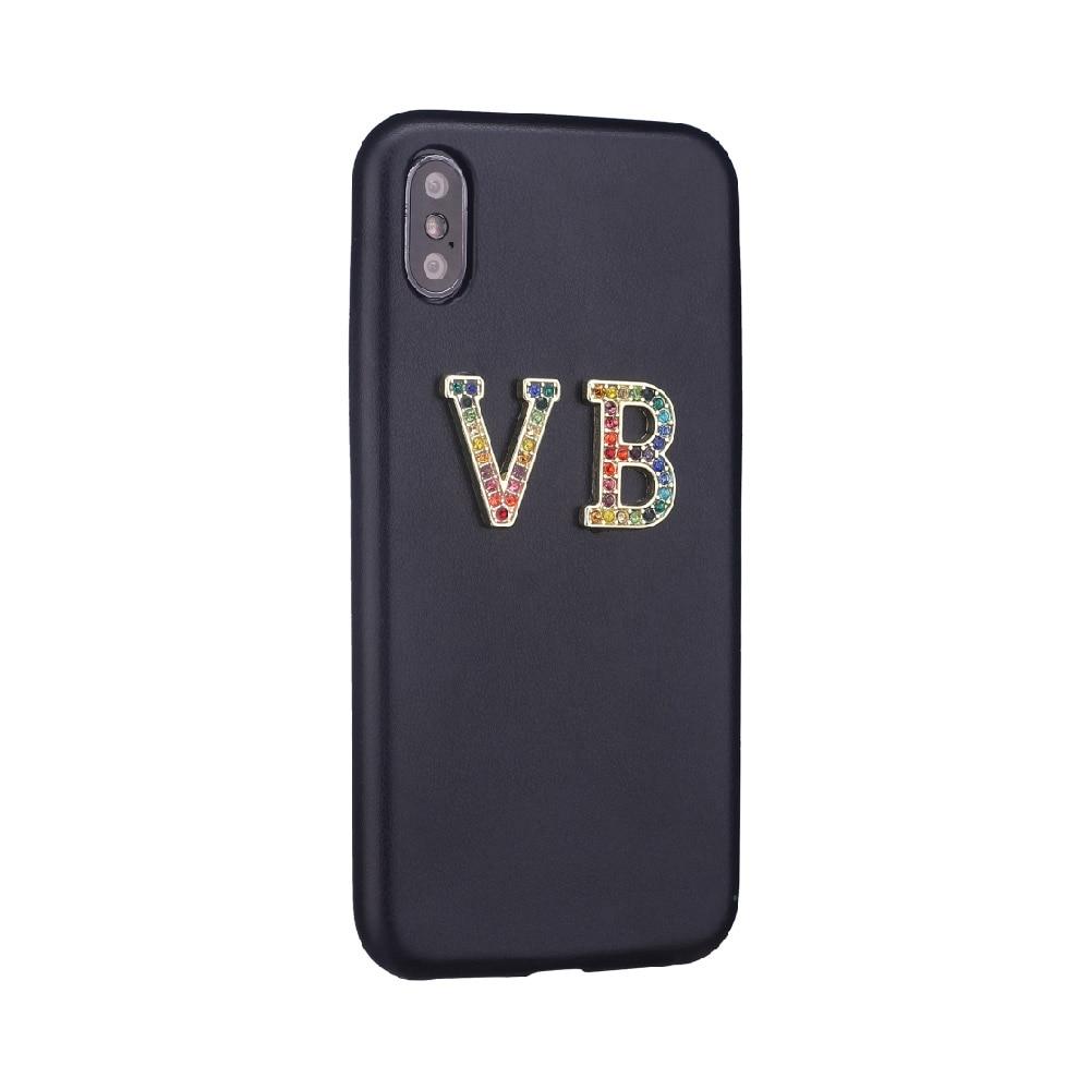 Стразы, бриллианты, кристалл, металл, индивидуальные инициалы для iPhone 11 Pro 6S XS Max XR 7 7Plus 8 8Plus X, гладкий тонкий кожаный чехол - Цвет: Black Leather Case