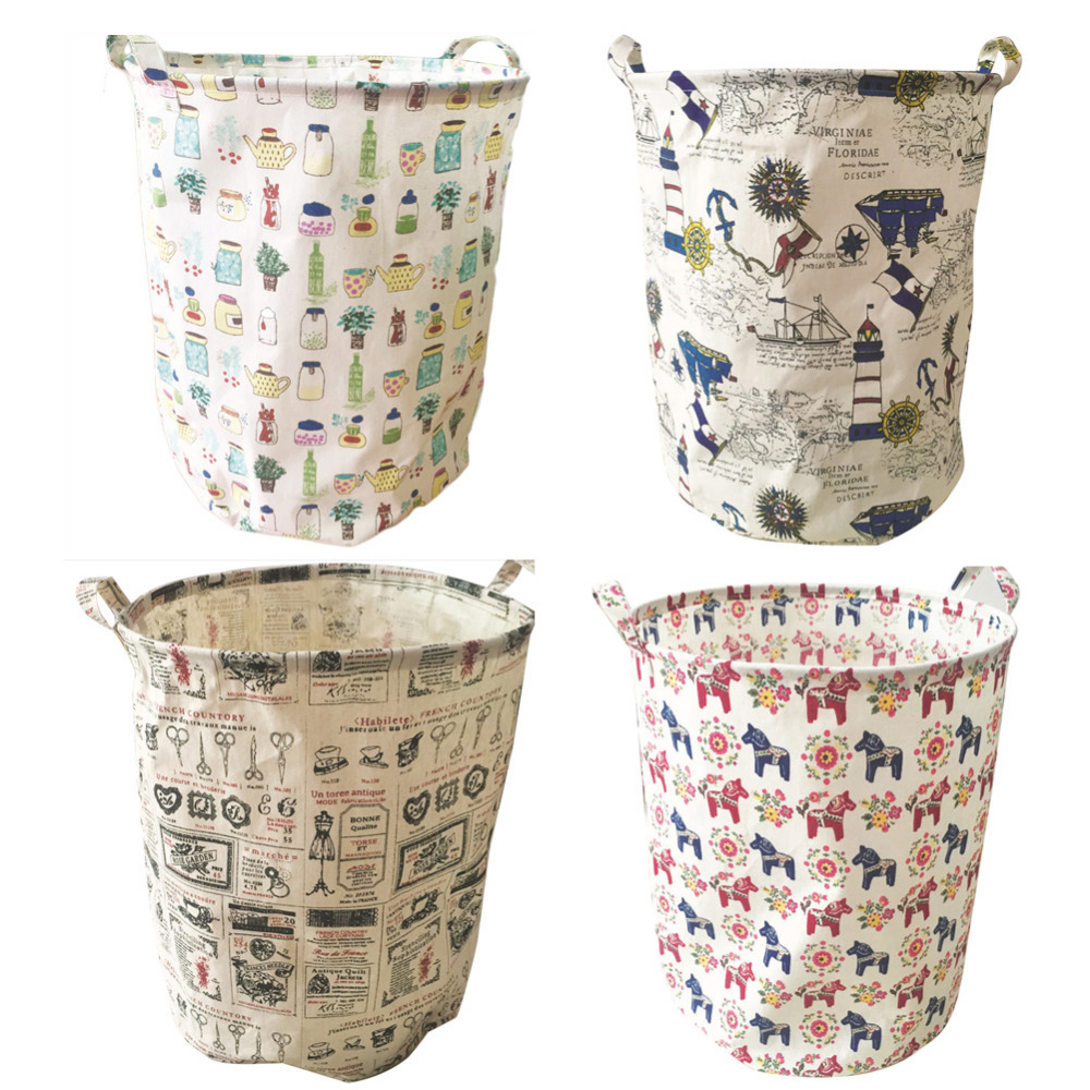 New Arrival 4 Types Foldable Cotton & Linen Storage Bucket Washing Clothes Durable Laundry Storage Basket Bag Size 40*50CM