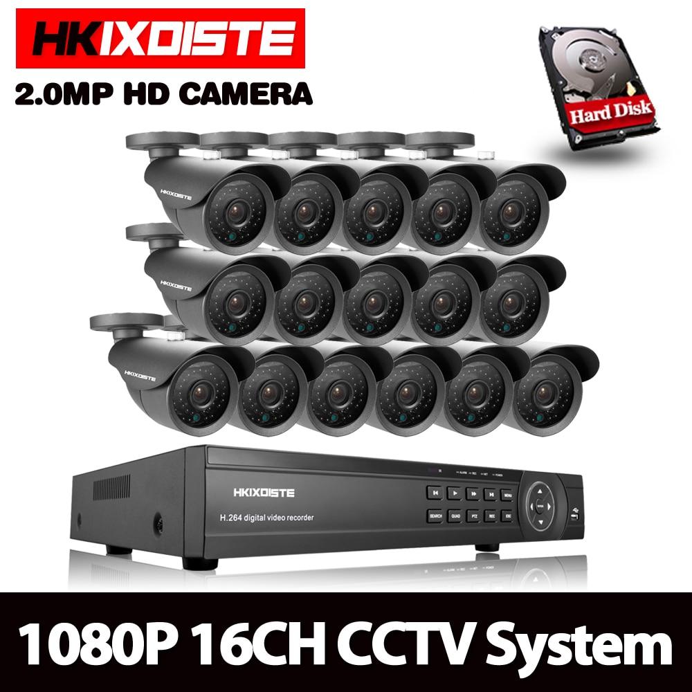 16CH 3000TVL 2.0MP HD al aire libre sistema de cámaras de seguridad CCTV 1080 p Video vigilancia DVR Kit 4 tb HDD 16CH 1080 p salida HDMI