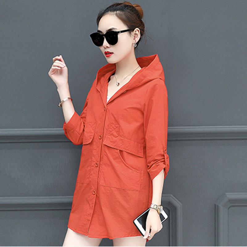 2019 Fashion Sunscreen   Trench   Coat Women Spring Summer Thin Hooded Clothes Lady Casual Loose Plus Size 6XL Solid Windbreaker