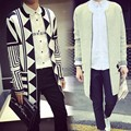 The wind casual men long cardigan sweater jacquard sweater coat slim metrosexual man.
