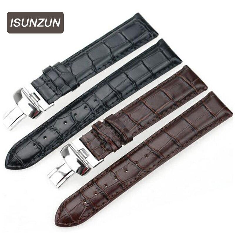ISUNZUN femmes pour Tissot Weisida 1853 T019.430 bracelet de montre en cuir noir montre bracelet montres accessoires bracelets de montre