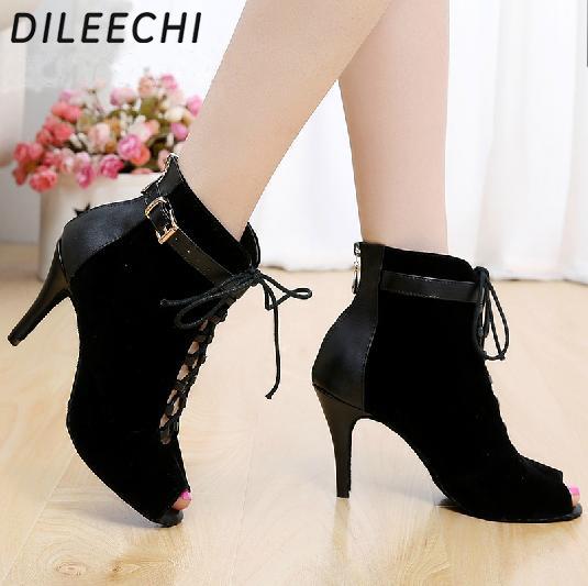 DILEECHI Brand women's Black Purple velvet Genuine leather Latin dance boots high heels Party Spot zipper on back shoes