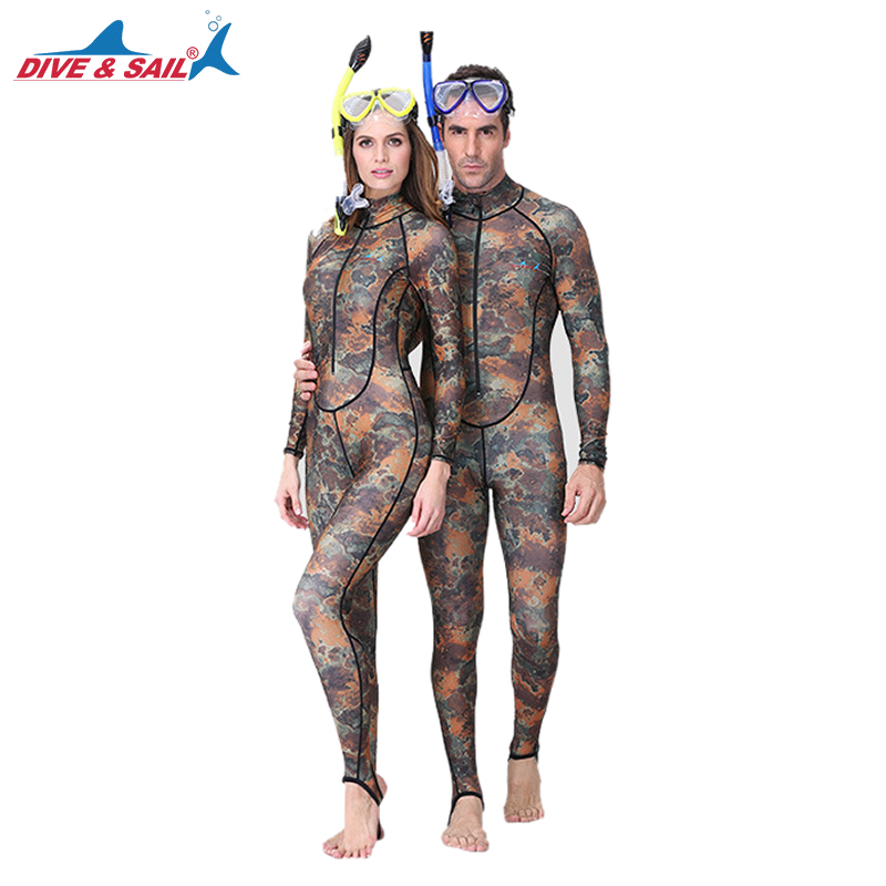 DIVE&SAIL One-piece Camouflage Rashguard Adults Dive Skin UPF50+ Wetsuit Swimwear for Diving Swimming Boating Snorkeling Surfing цена