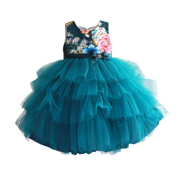 Baby Girls Dress Floral Print Wedding Party Baby Clothes Green Layered Summer Dresses Birthday Clothing Size 2-7T