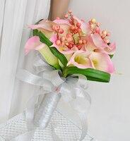 Pu yapay çiçek düğün çiçek gelin tutan çiçekler pembe calla bountyless