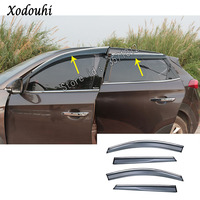 For Hyundai Tucson 2019 2020 car body styling Stick lamp plastic Window glass Wind Visor Rain\/Sun Guard Vent 4pcs