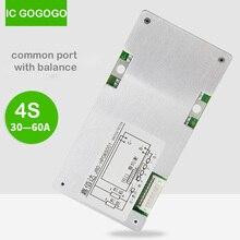 Lifepo4 Placa de protección de batería de litio Li ion 4S, 12V, 12,8 v, 14,8 V, BMS, puerto común con inversor de equilibrio 30A, 40A, 60A, 18650