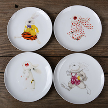 NEUE Mode Tier Kaninchen Teller Porzellanteller Untertassen Tablett Teller Küche Keramik Geschirr kinder Platte 8 zoll