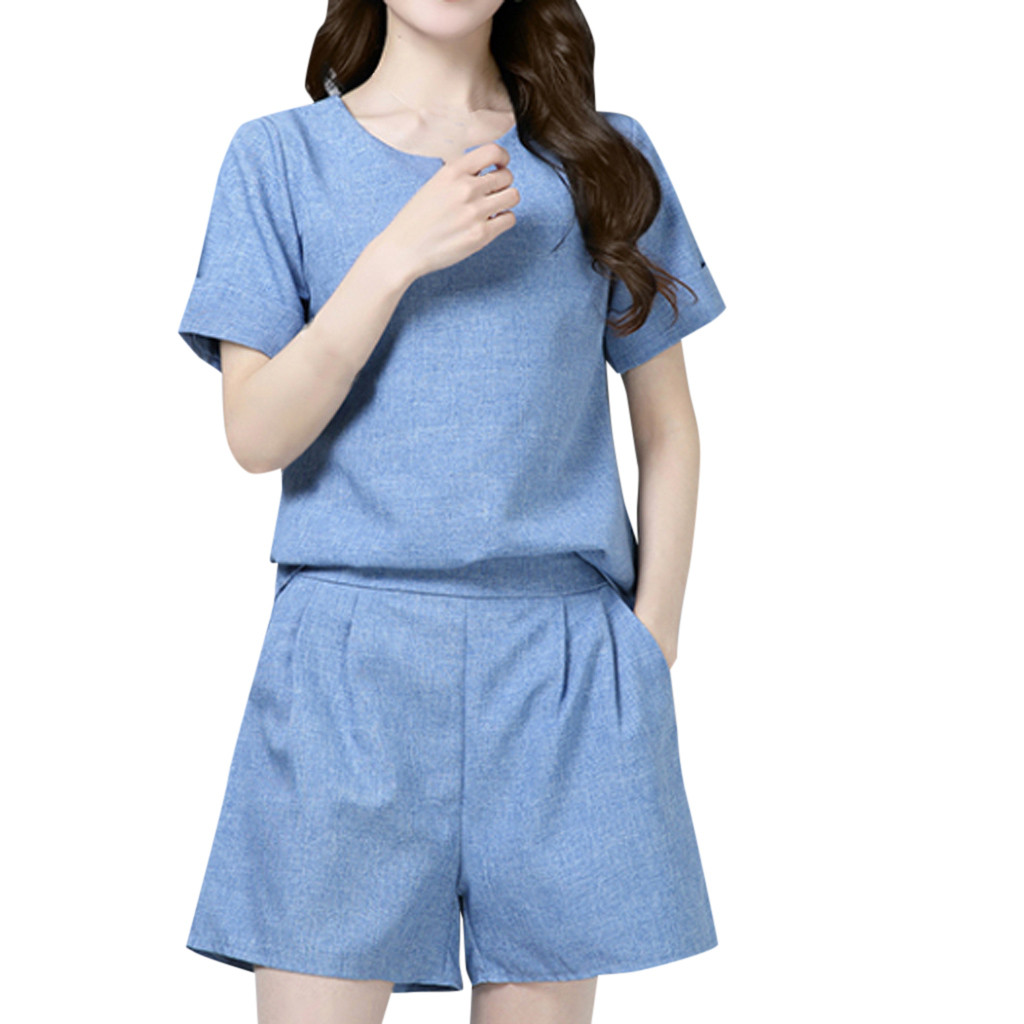 Summer Casual Cotton Linen O-neck Short Sleeve Tops Shorts Pants Two Piece Set Female Suit Women's Costumes woman clothes #514 thumbnail