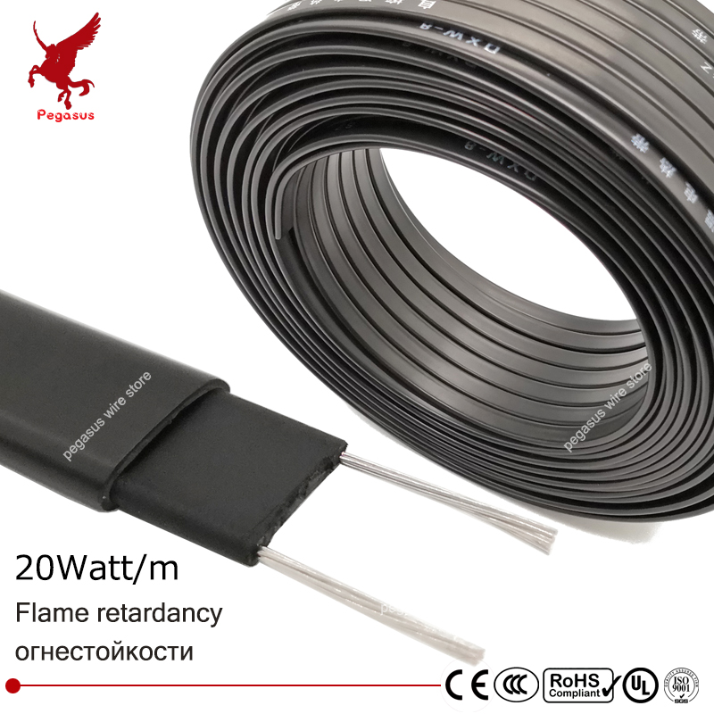 40m 220V Flame retardant type heating cable W 8mm Self regulat temperature Water pipe protection Roof