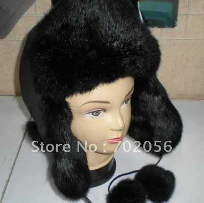 Rabbit Fur Lei Feng Bomber aviator ushanka ranched fox fur hat Warm #2317