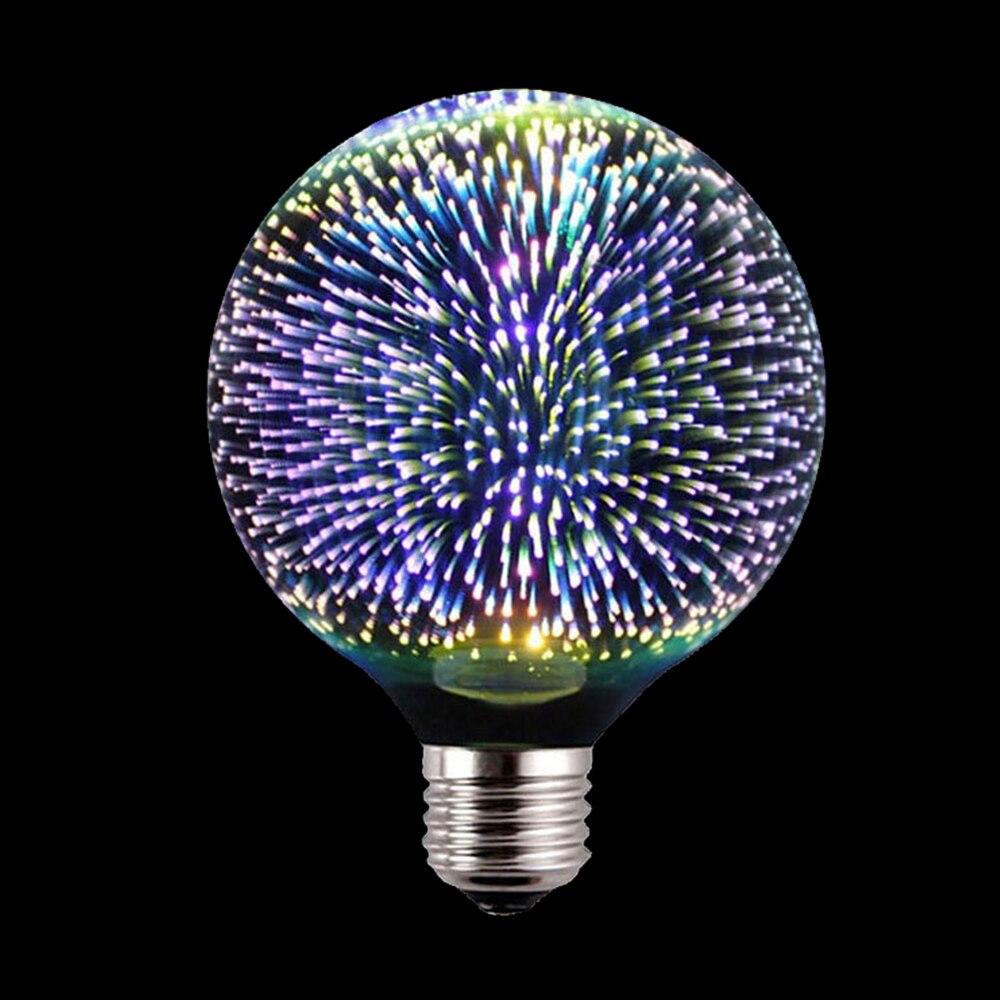 BORUiT 110 220 V LED lampe de Table E27 G95 G80 3D décoration ampoule nouveauté RGB feux d'artifice lumières de vacances pour le nouvel an noël