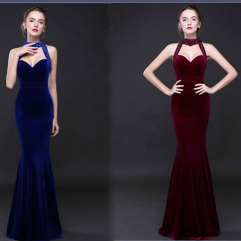 Evening long Dresses Sexy Backless Sequins Women high elastic Slim Formal Celebrity Special Occasion Dress