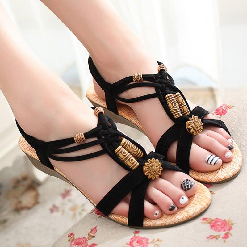 Creatief Vrouwen Flats Gladiator Sandalen Strand Schoenen Sandalia Feminina Enkelband Rome Sandalen Bohemen Schoenen T-gebonden Flats Zapatos De Mujer