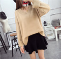 2016 New Arrival Women's Autumn Clothing Full Sleeve Pullover Sweater Solid V-Neck Female Knitting Loose Tops 3 Colors In