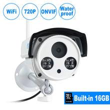 Jooan 1-megapixel grabación de audio cámara ip inalámbrica 720 p bala al aire libre cámara de seguridad inalámbrica incorporada 16 gb tarjeta sd micro