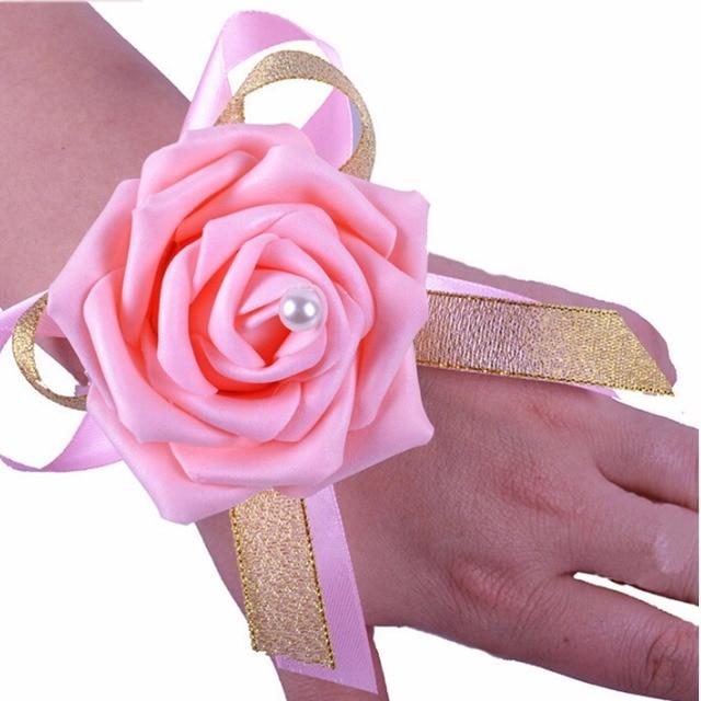 Floral wrist flower corsage wedding corsage wedding prom party pink floral wrist flower corsage wedding corsage wedding prom party pink wedding decoration artificial flowers mightylinksfo