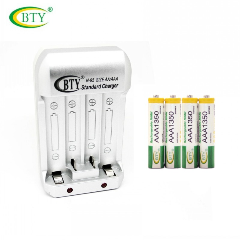 BTY N95 Hi-speed Quick AA AAA Rechargeable Battery EU Charger +BTY 4x AAA 1350 series 350mAh 1.2V NI-MH Rechargeable Battery