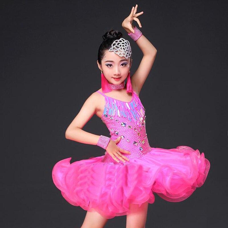New Arrival Latin Dress For Girl Dress Schoolgirl Professional Garment Children Ballroom Kid Competitive Vintage Costume N5045
