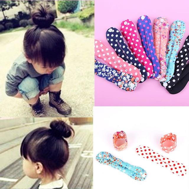 חדש חמוד בנות הדפסת שיער Bun כלים סרטי ראש Diy שיער סגנון בארה 'ב צרפתית קסם Donut Hairbands ילדי שיער אבזרים