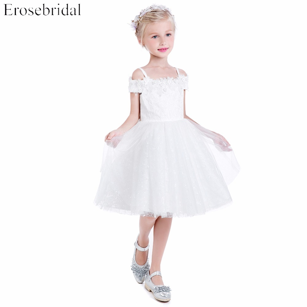 Whitel Lace   Flower     Girls     Dresses   2019 Erosebridal A Line Wedding   Girl     Dress   Off The Shoulder Lace Up Back RG-36 In Stock