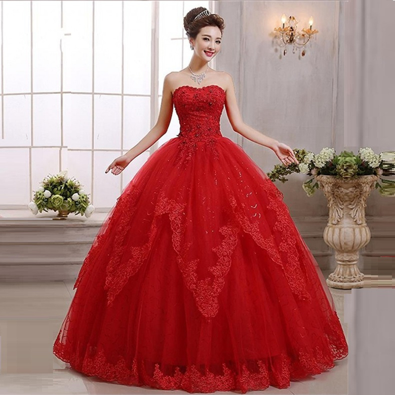 Lace red ball gown princess wedding dress 2016 crystal for Princess plus size wedding dresses