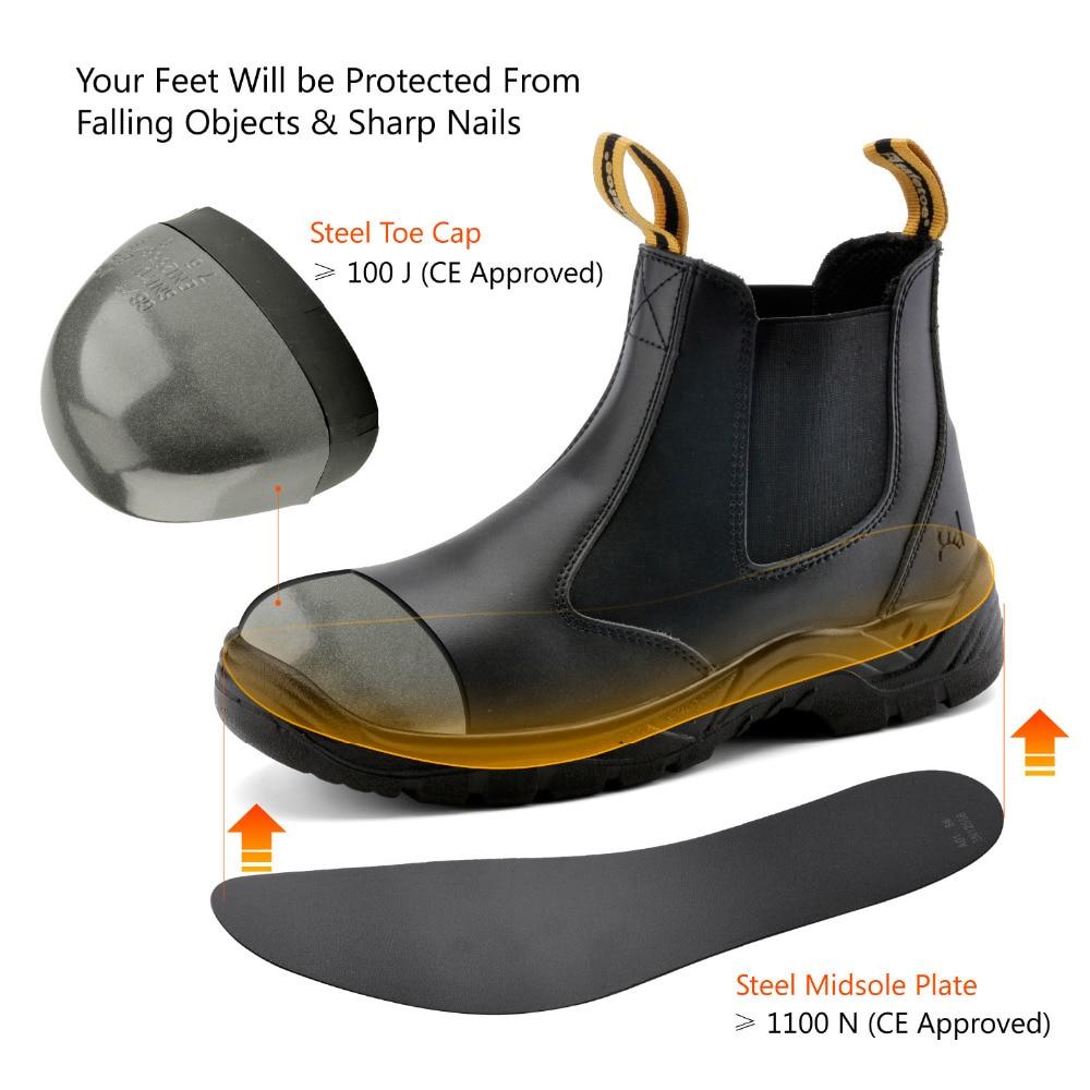 Image 4 - Sapatas de segurança safetoe s3 com tampão de aço do dedo do pé,  botas de segurança de trabalho de pouco peso com couro impermeável para  homem e mulher botas hombreboots workboots brandboots fashion -