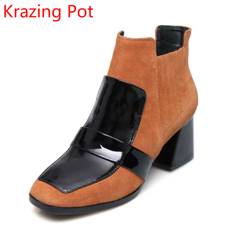 2018 Winter Shoes Genuine Leather Square Toe High Heels Zipper Mixed Colors Large Size European Runway Women Ankle Boots L06  2017 superstar cow leather platform european ankle strap peep toe print mixed colors classic women increased runway sandals 0 4