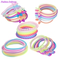 10pcs/lot Fashion Luminous Elastic Rubber Hair Bands Hair Ring Bracelet Fluorescent Seamless Ponytail Holder Color Mix Hair Rope