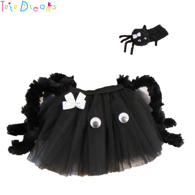 30d61a86db Halloween Black Little Spider Girl Tutu Skirt Funny lol Party Horrible  Spiders Cos Costume For Kids Photo Shoot and Headband