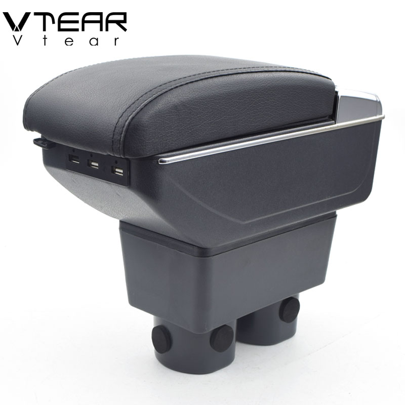 Vtear For Nissan Tiida armrest box USB Charging interface heighten central Store content box cup holder