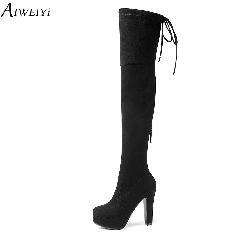 AIWEIYi au-dessus des bottes de genou pour les femmes mode printemps automne mince cuissardes bottes bout pointu Zipper moto bottes Botas