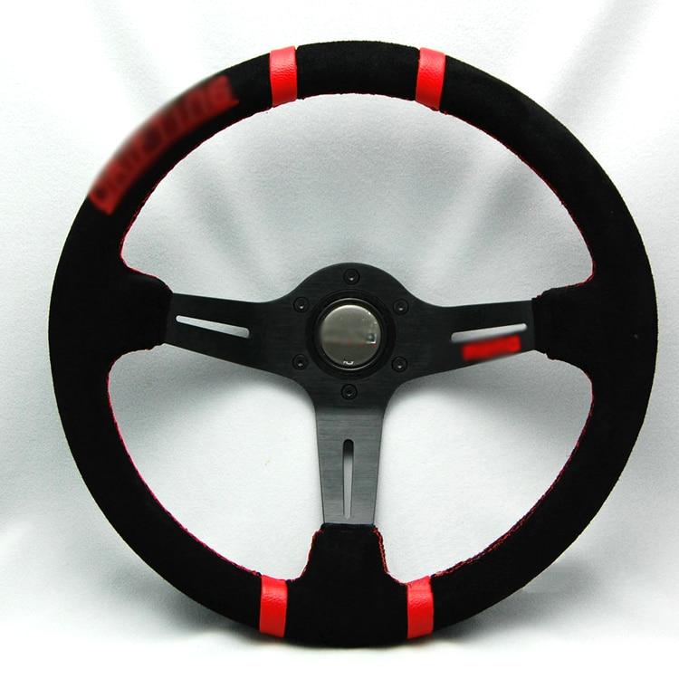 Ipoboo Новый Универсальный спортивный 340 мм замши Deep Dish руль красная полоса